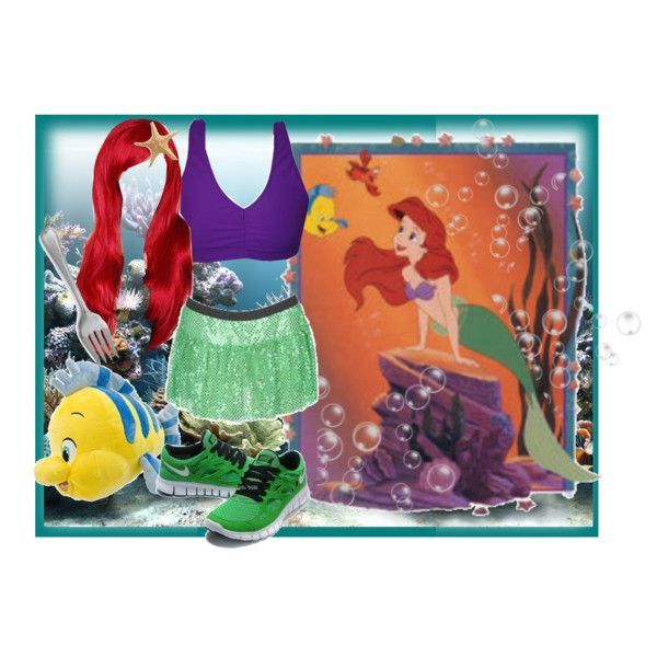 Ariel the Little Mermaind Running Costume, created by according2kelly on Polyvore; MouseTalesTravel.com  #MTT #rundisney #fitmouse #getfit