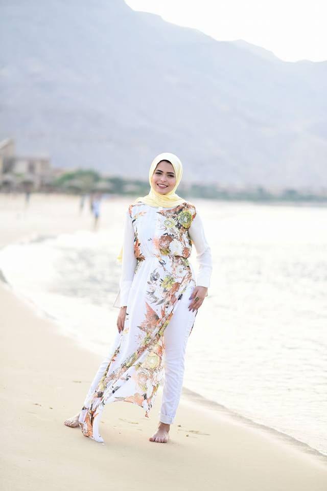 long white floral dress beach style-Hijab fashion inspiration…