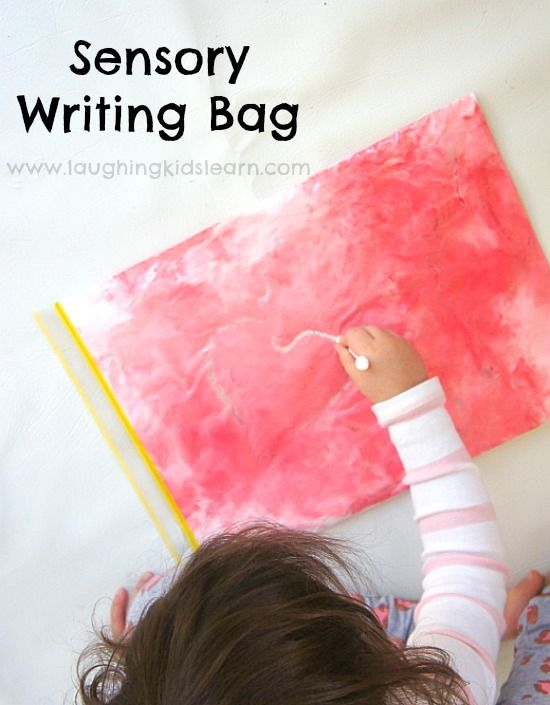 Sensory writing bag for preschoolers. Fine motor activity.
