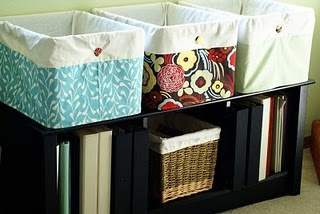 fabric covers for plastic storage crates (using the Undercover Crate tutorial by Laura Gunn)
