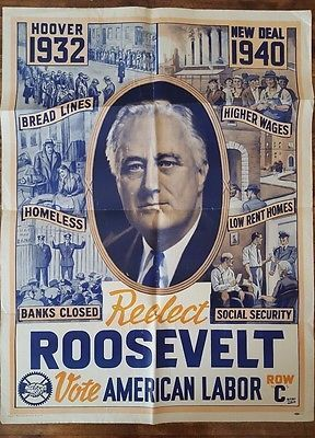 Rare-1940-Franklin-Roosevelt-Presidential-Campaign-Poster-NEW-DEAL-Labor-HOOVER