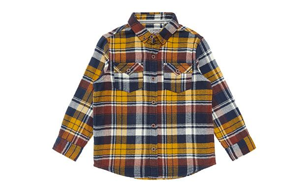 "Mustard Print Shirt. ""He'll be the coolest kid in the playground in this relaxed, double pocket check shirt."""