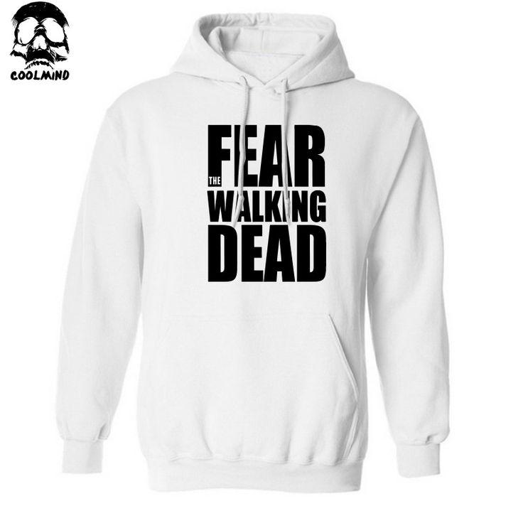 Dmart7deal Thick Material cotton blend walking dead men Hoodies hat fleece casual loose TWD mens hoodies and sweatshirts