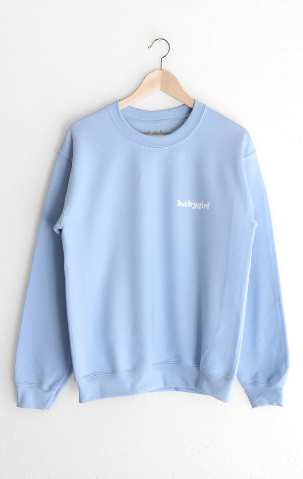 Babygirl Oversized Sweatshirt Light Blue Crewneck Outfit Oversized Sweatshirt Sweatshirts