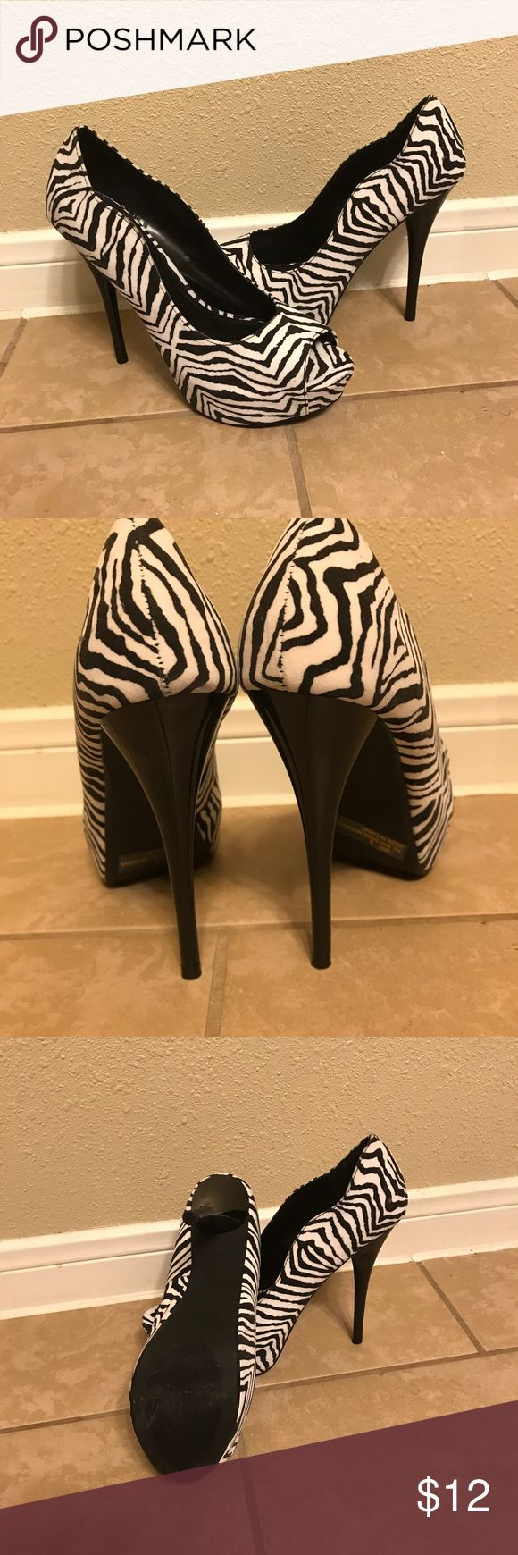 "6 in Zebra Heels! New, never worn zebra heels! They are either 6 or 6.5"" *Make Offer* Qupid Shoes Heels"