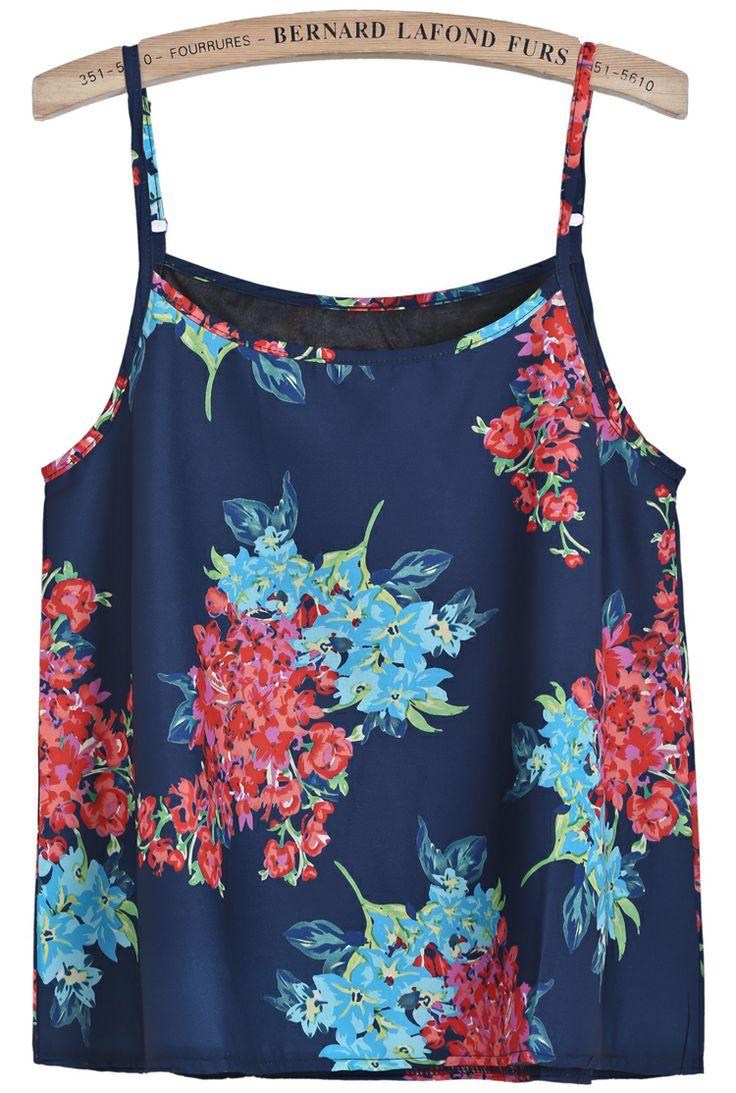 Blue Spaghetti Strap Floral Vest CA$20.41