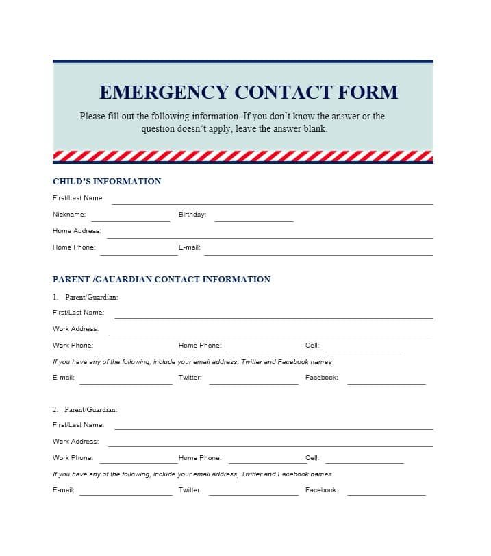54 Free Emergency Contact Forms Employee Student Emergency