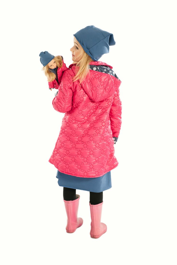 La Lalla pink hoodded coat for girl and doll. Custom doll that resembles your child. #doll #kids #girl #autumn #collection #pink #sweet