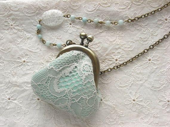 mini purse necklace  crystal and mint by kikosattic on Etsy, $46.00