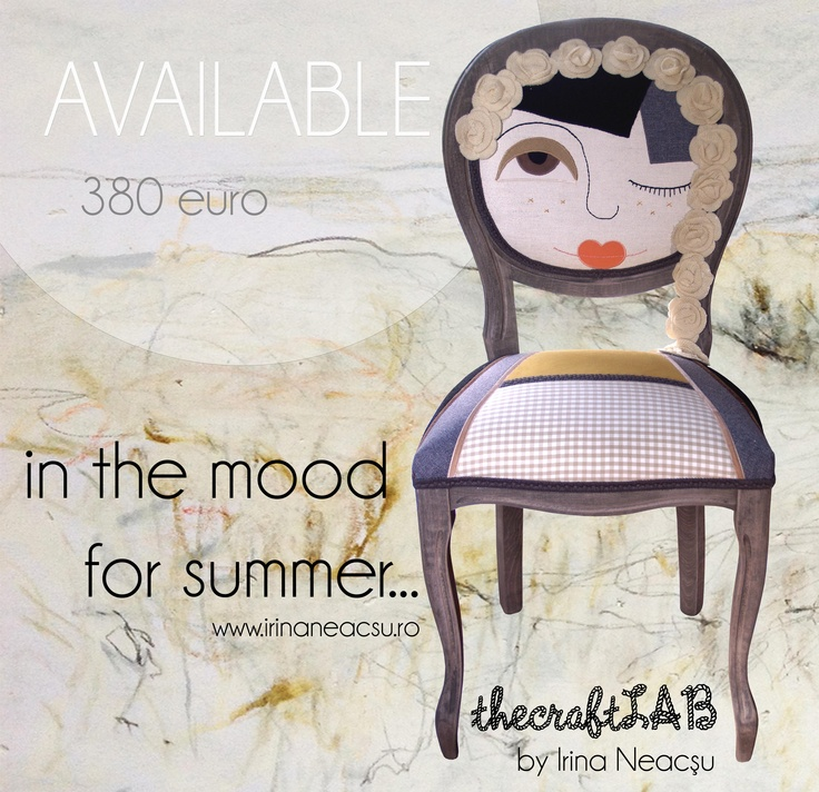 one of a kind summer chair made by Irina Neacşu, inspired by the traditional Romanian girls with flowers in their hair.