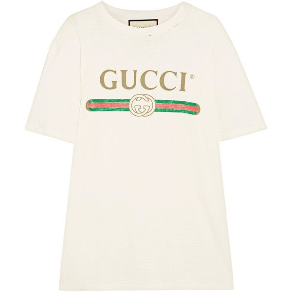 GucciAppliquéd Distressed Printed Cotton-jersey T-shirt ($430) ❤ liked on Polyvore featuring tops, t-shirts, ivory, white tees, oversized tees, gucci tee, distressed white t shirt and ripped t shirt