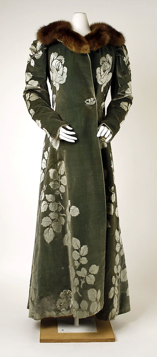 Coat, Evening  House of Worth  (French, 1858–1956)    Designer:      Charles Frederick Worth (French (born England), Bourne 1825–1895 Paris)  Date:      1894  Culture:      French  Medium:      silk, fur  Dimensions:      Length at CB: 59 1/4 in. (150.5 cm)  Credit Line:      Gift of Mr. and Mrs. Alexander Hamilton, 1961  Accession Number:      C.I.61.43    This artwork is not on display