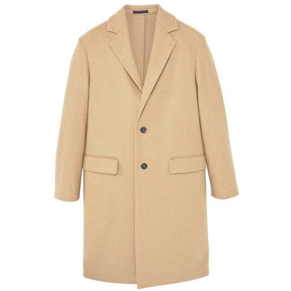 Tailored Wool-Blend Overcoat (€160) ❤ liked on Polyvore featuring outerwear, coats, jackets, lapel coat, long sleeve coat, mango coats, over coat and wool blend coat
