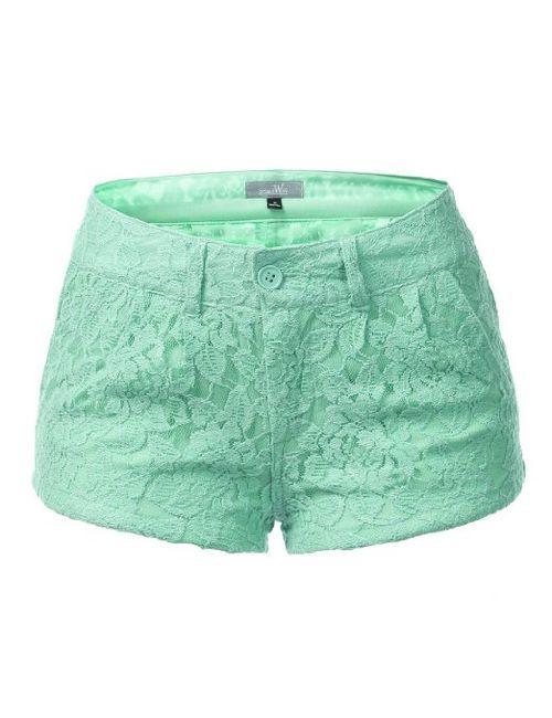 Amazon.com: 9XIS Womens Fashionable Colored Lace Mini Shorts: Clothing