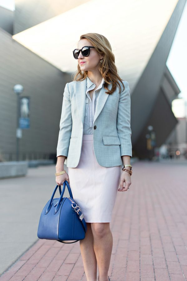 J Crew Gray Blazer Pink Skirt Work Outfit