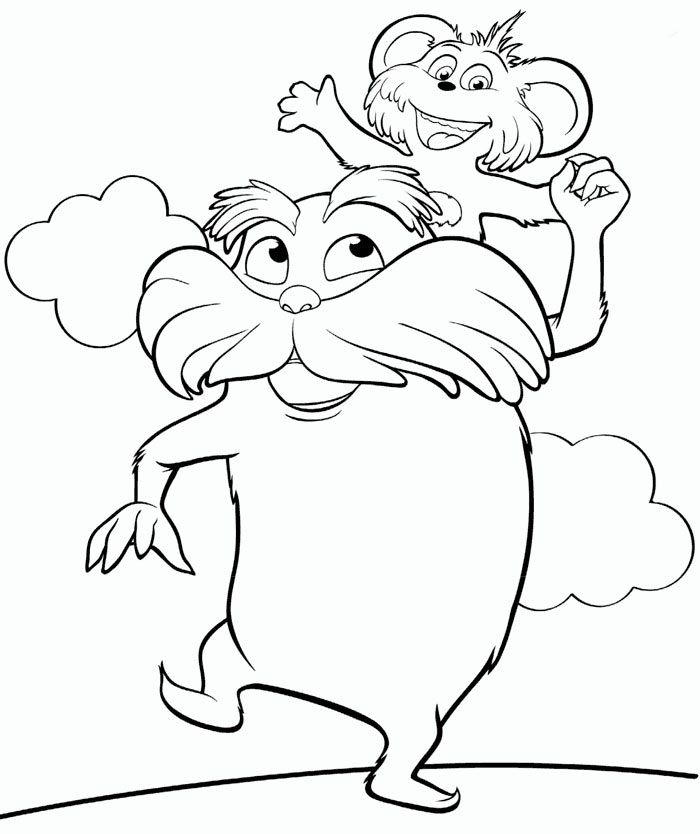 how about to color this beautiful picture of the lorax with pip on his shoulders they are characters of the upcoming the lorax movie - Green Eggs Ham Coloring Pages