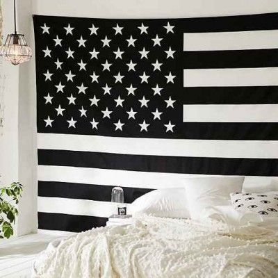 Black and White American Flag Tapestry
