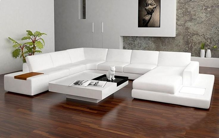 sectional contemporary sofa | Tosh Furniture Modern Bonded Leather Sectional Sofa with Light - White ...