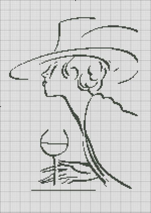 point de croix femme au vin de vin - cross stitch woman with a glass of wine silhouette