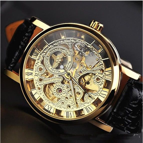 Image of Mens Mechanical Watch / Steam Punk Gold Plated Retro Watch (WAT0043-Gold)