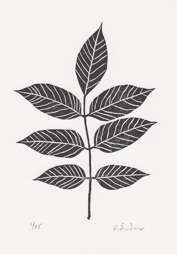 Block print: Ash tree leaf - limited edition hand pulled fine art block print…