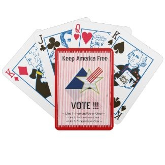 Keep America Free - R (Personalized Playing Cards) - How great would it be to come up with a promotional gift for your customers that they will use and see at least once a week, but that their family and friends will see that often, too?!!  Pretty tall order, but we got you covered with this cool deck of cards, with Leslie Sigal Javorek's patriotic original digital painting, customizable text, and Bicycle® special election year face cards! Made in the USA and available with Red or Blue…