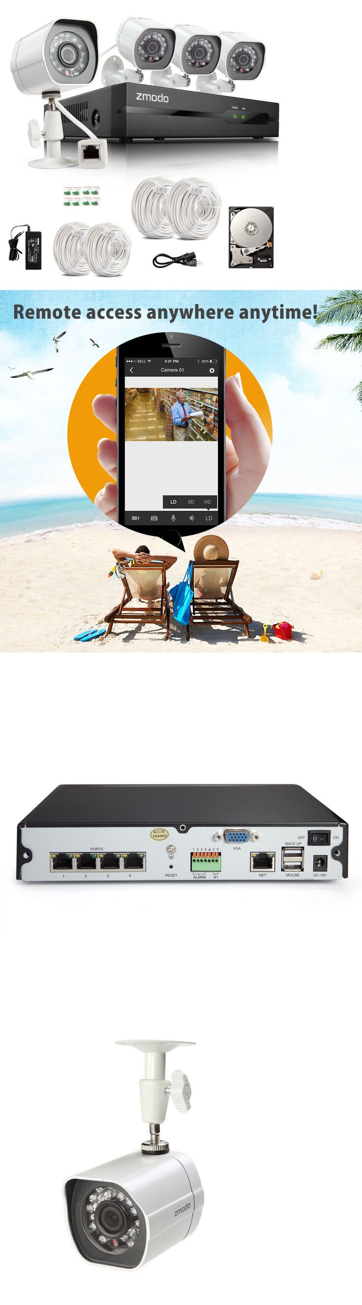 Surveillance Security Systems: Zmodo 1080P Hd Ip Poe Indoor Outdoor Day Night Ir Security Camera Nvr System 1Tb BUY IT NOW ONLY: $199.99