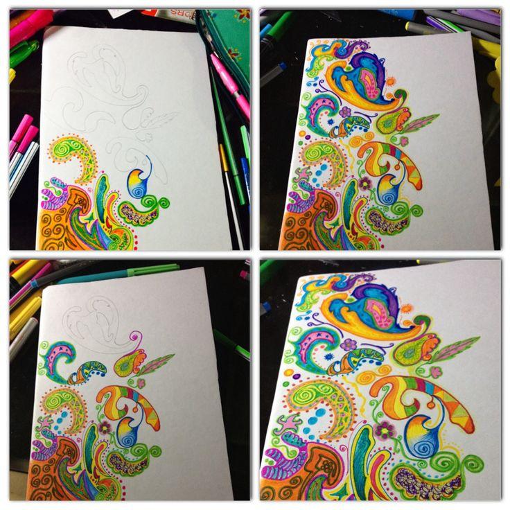 Tapas o forros de cuadernos pintados a mano