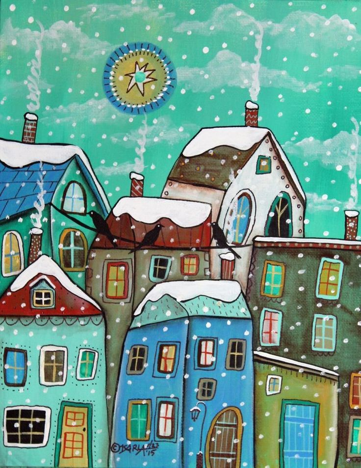 Another Snow Day 8x10 inch Canvas Panel PAINTING Original FOLK ART Karla Gerard ..new painting for sale now, fabulous...lots of detail... #FolkArtAbstract