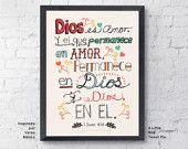 Items similar to Arte Cristiano. 1 Juan 4:16. Dios Es Amor Arte Cristiano. Tipografia a Mano. Decoracion Moderna. 8.5x11. on Etsy