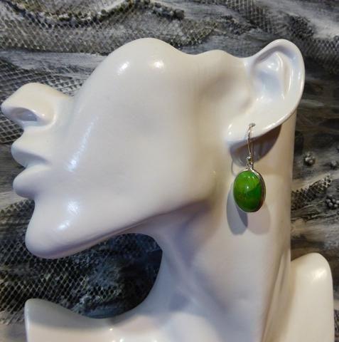 Gaspeite Earrings Oval Cabochon | 925 Sterling Silver | West Australian Native Stone | Virgo | Crystal Heart Melbourne Australia since 1986