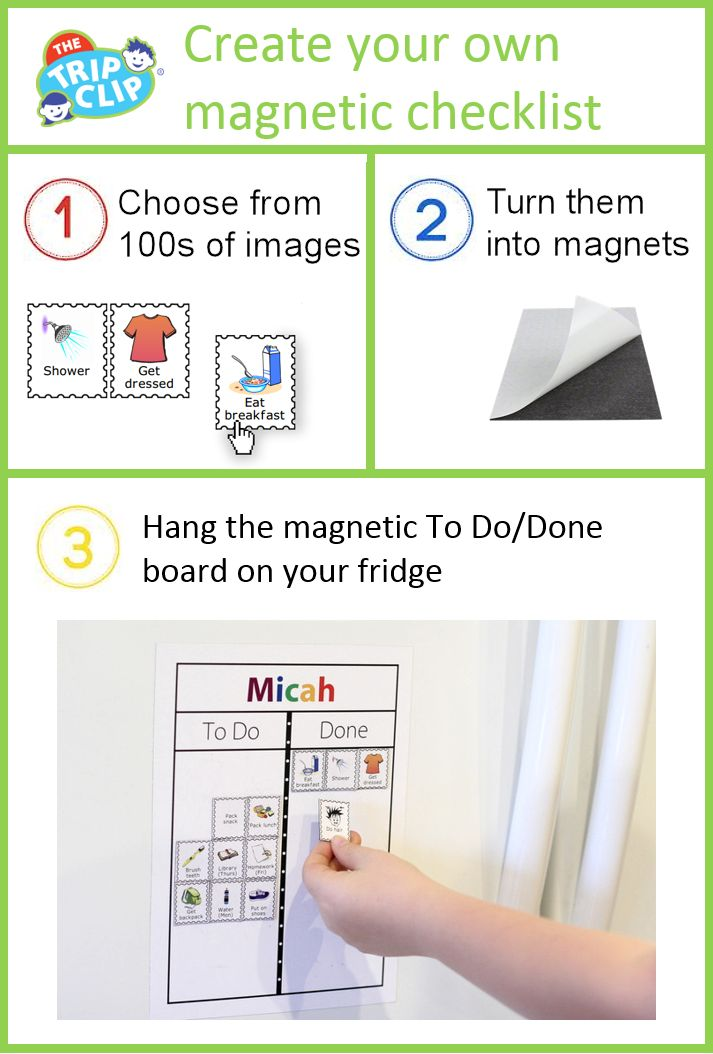 Make your morning routine checklist magnetic and hang it on the fridge. It's easy for the kids to see their progress, and how much is still left to do!  #MorningMadness #TheTripClip #MagneticChecklist