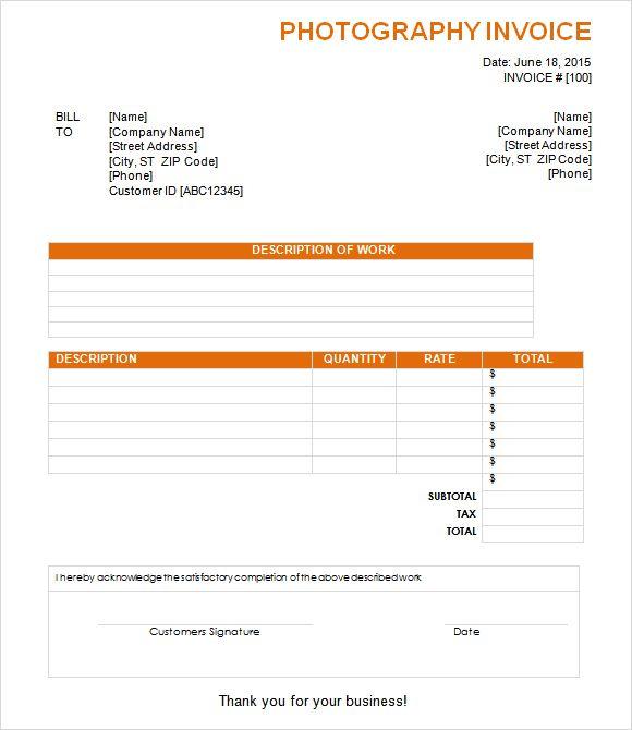 sample invoice freelance