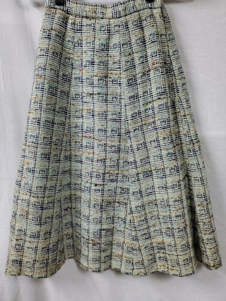 Jaeger Blue Tweed Trumpet Skirt Size 8 24 X 28 Vintage