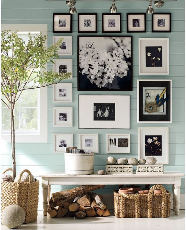 "Benjamin Moore color ""blue maze""...soothing, cool, muted blue. I would paint a beach cottage this in a heartbeat!Wall Colors, Ideas, Photo Walls, Black And White, Black White, Photos Wall, Gallery Wall, Pictures Frames, Pictures Wall"