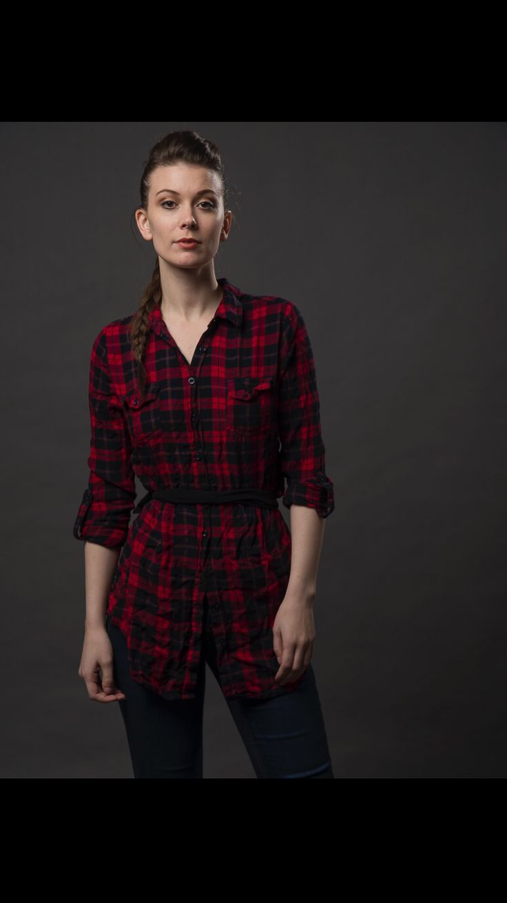 red and black plaid belted blouse