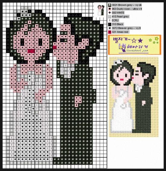 Wedding - married couple perler beads pattern