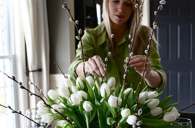 Tulip and Pussy Willow Centerpiece Tutorial