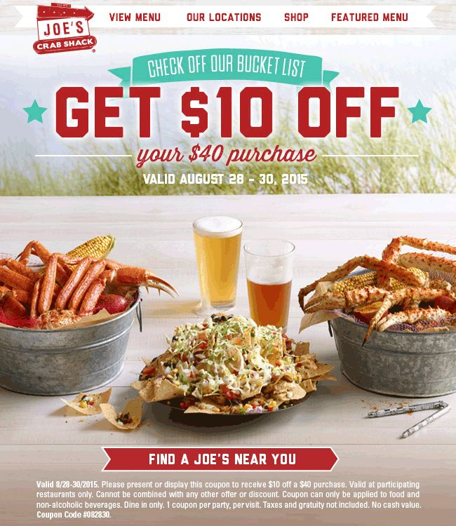 Pinned August 28th: $10 off $40 at Joes #Crab Shack #coupon via The #Coupons App
