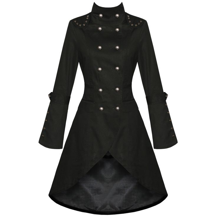 Womens Ladies New Black Gothic Steampunk Military Cotton Coat Jacket   eBay