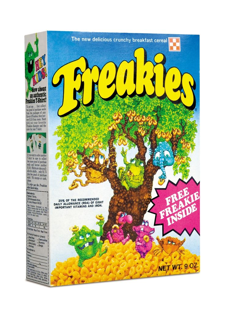 "Freakies Cereal.  Anyone else still have the toys and magnets that were ""prizes"" inside the box?"