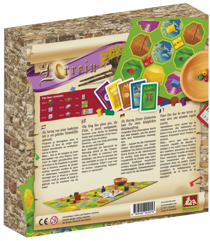 This is the backside of the box of our game lorrein. The design was made by Viesrood.