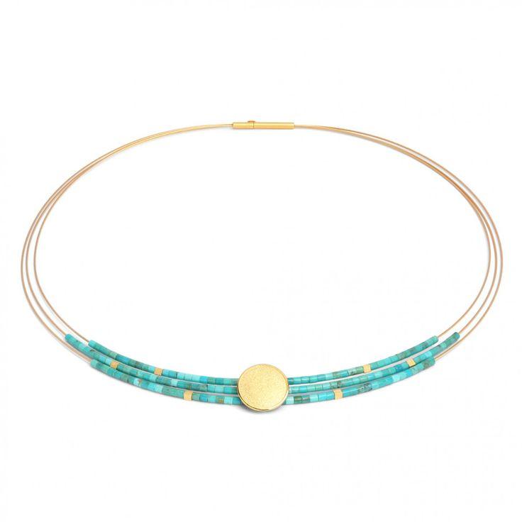 Sunnyside Collier in goldplattiert mit blauem Türkis - SUNNY - DESIGNLINIEN | Bernd Wolf