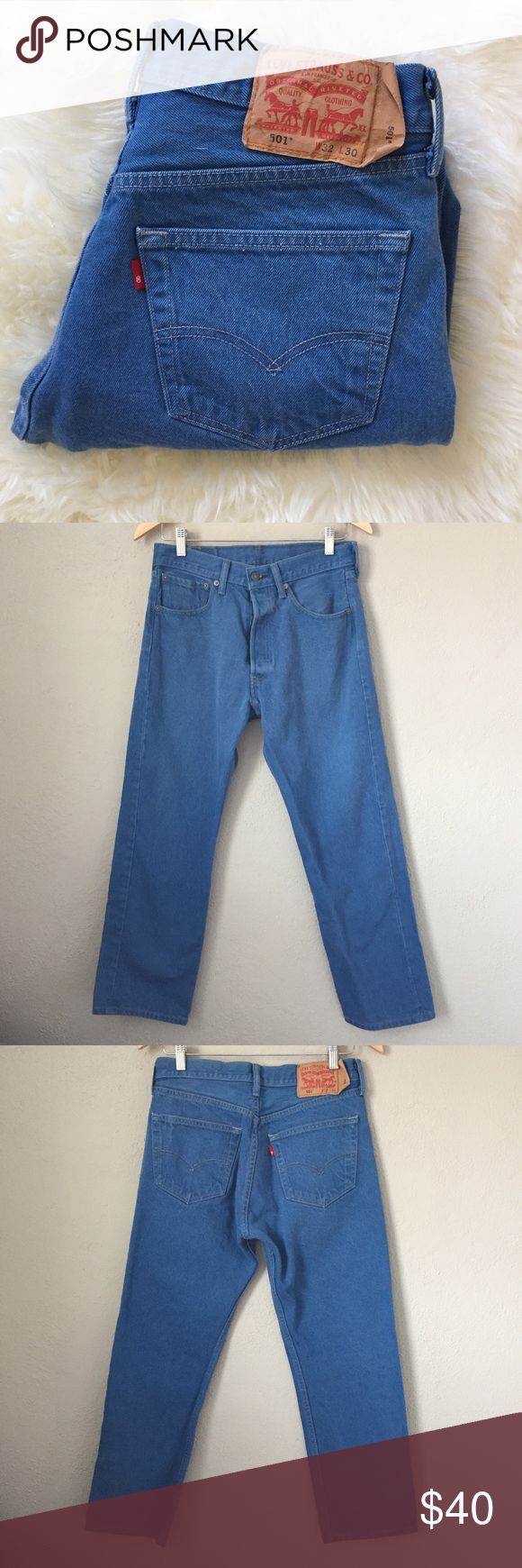 Levi's 501 Bright Blue Jeans 31x27 Levi's 501s in a bright blue wash.that is hard to capture by camera. These are in excellent condition with no holes or tears. Measures 31x27 but tag is 32x30. Rise is 10.5 inches. Please ask f you have any questions about these. I do not trade or model. Levi's Jeans Boyfriend
