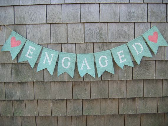 Engaged Banner, Engaged Bunting Garland, Engagement Banner, Photo Prop, Bridal Shower Decor, Mint Wedding, Burlap Banner, Custom Colors