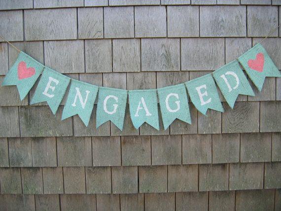 Engaged Banner, Engaged Bunting Garland, Engagement Banner, Photo Prop, Bridal Shower Decor, Mint Wedding, Burlap Banner, Custom Colors