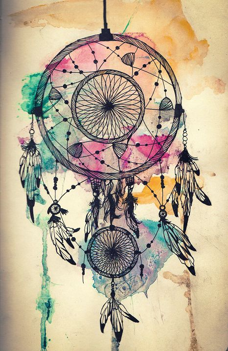 Dreamcatcher. If this was done as a tattoo with the water colors in it as well, that would be a pretty awesome tat!