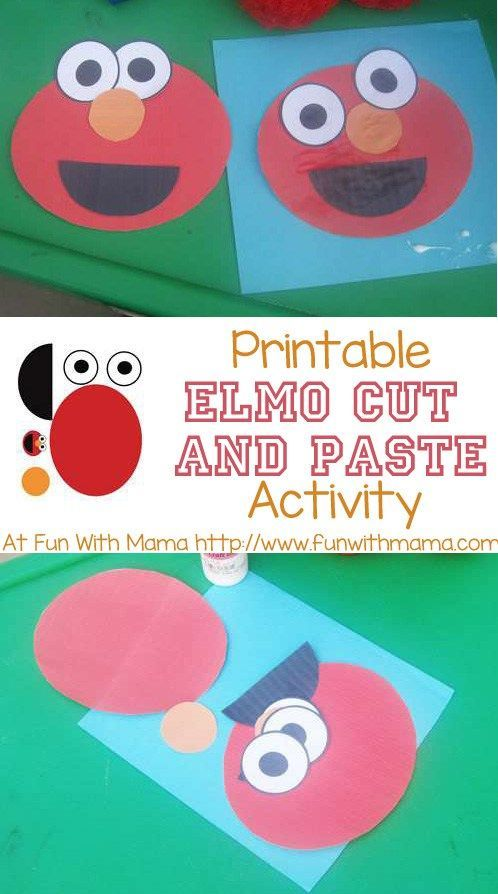 Here is a printable elmo cut and paste activity that is wonderful for toddlers and preschoolers. Kids can place Elmo's eyes, mouth and nose in their place. This is a wonderful visual perception activity! Sesame Street lovers will really enjoy this one.