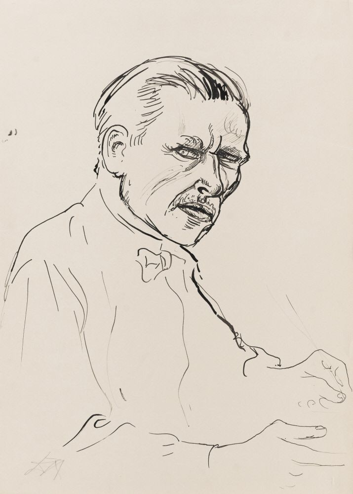 """Otto Dix (German, 1891 – 1969) / """"Self Portrait,"""" n.d. / Ink on paper / Des Moines Art Center Permanent Collections; Gift of Serge Sabarsky, New York, 1974.116 / Photo Credit: Rich Sanders, Des Moines"""