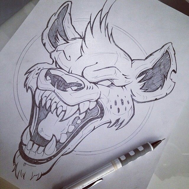 Possessed Vicious Hyena Tattoo Design Graffiti Drawing Hyena